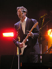 Eric Clapton at the Tsunami Relief concert in Cardiff's Millennium Stadium
