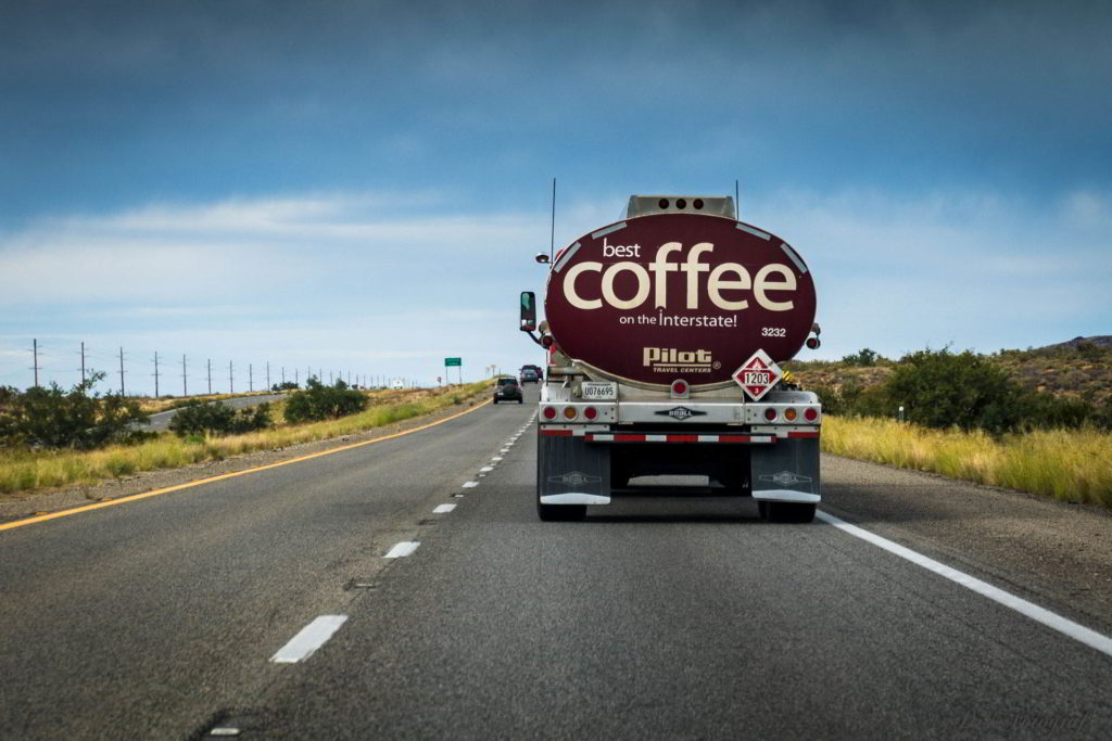 Fuel Truck with Coffee Advertisement